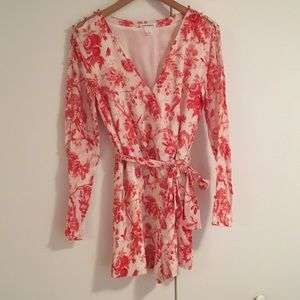 Red toile long sleeve romper
